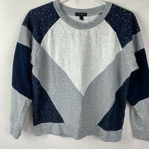 J Crew Mixed Media Sweatshirt Sz Medium Blue/Gray